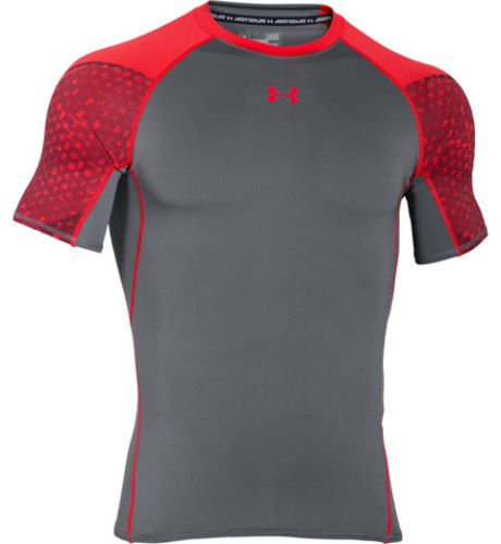 Pánské kompresní triko Under Armour HeatGear ARMOUR SCOPE Šedo/oranžové XS
